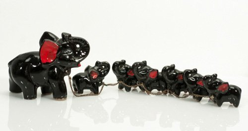 Vintage Black Mother Elephant and Black Babies on a Cha