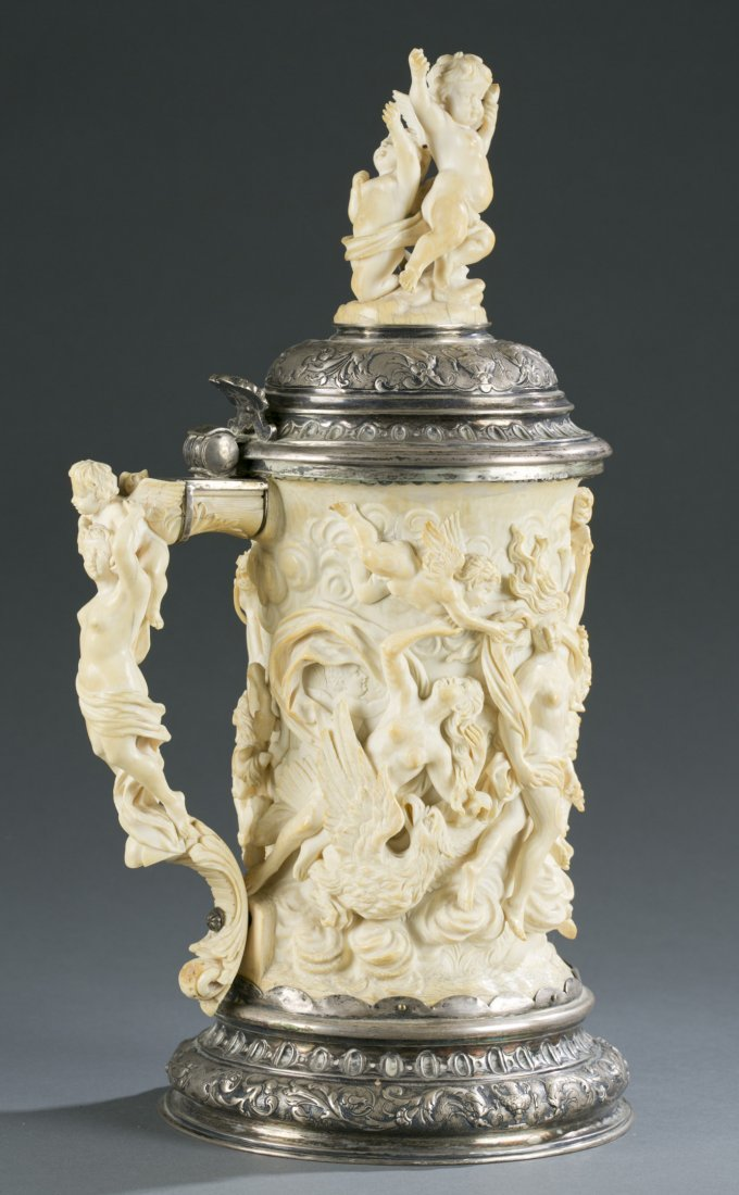 German Carved Ivory and Silver Gilt Mounted Tankard