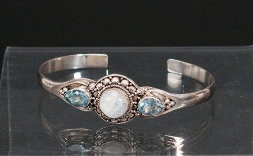 Sterling Silver Bangle Bracelet Set with Labradorite
