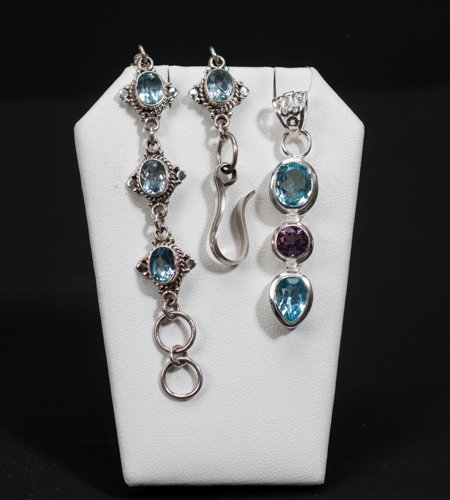 Sterling Silver Bracelet and Pendant set with Blue