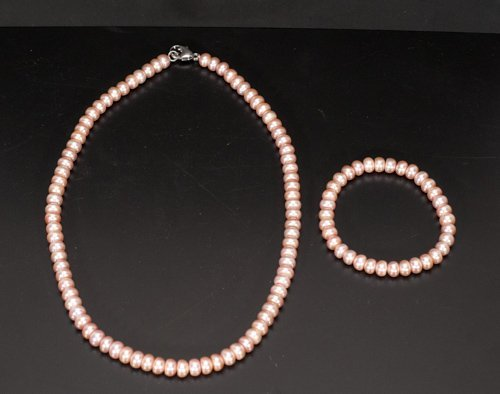 Pink Freshwater Pearl Necklace and Bracelet Set with