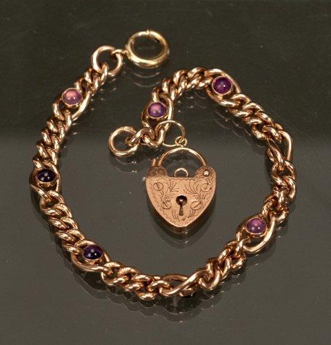 9K Rose Gold Bracelet with Amethyst Cabochons