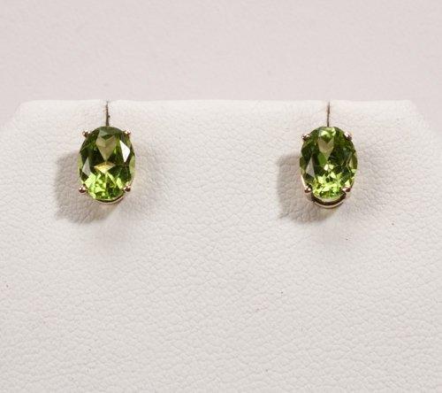 Pair of 2 1/2 Carat Peridot 14K Earrings