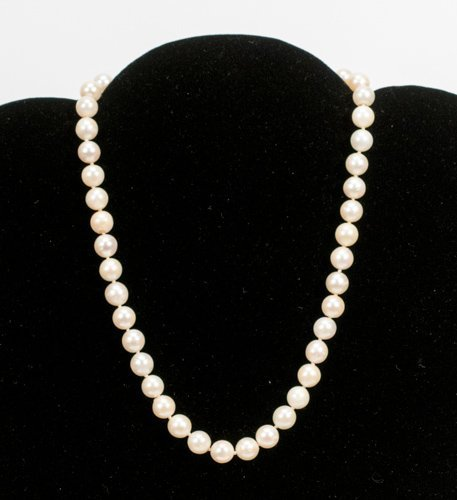 Single Strand 14K White Gold Pearl Necklace