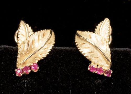 18K Gold Leaf and Rubies Earrings
