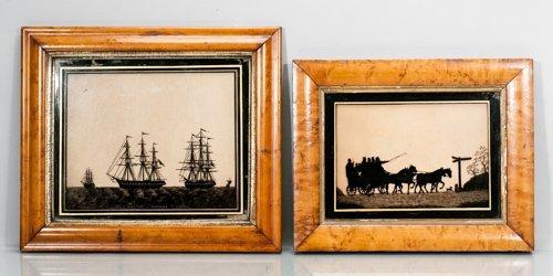 Pair of 1835 English Reverse Paintings in Birds Eye