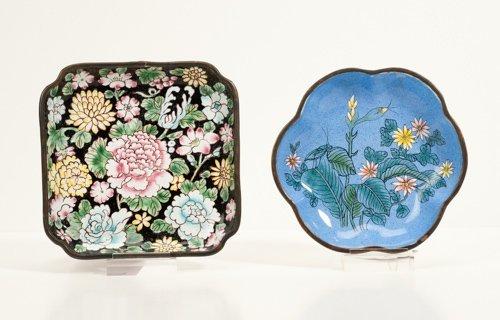 Two Peking Style Enamel Trays