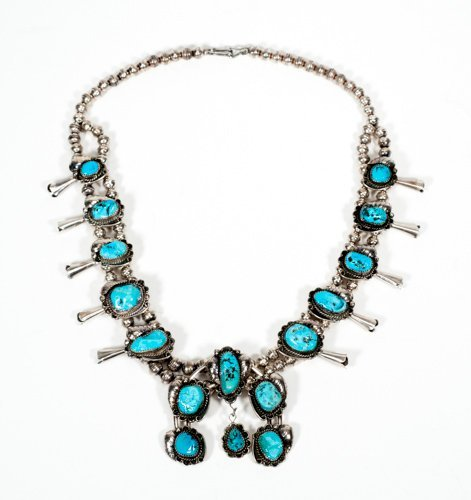 Navajo Squash Blossom Silver and Kingman Turquoise