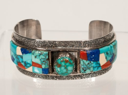 Sterling Silver Cuff Bracelet with Inlaid Turquoise