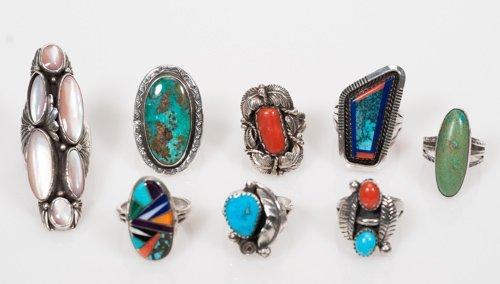 Eight Native American Rings