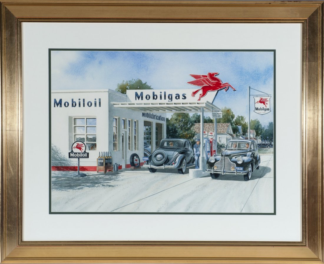"Water color by Jack Schmitt, ""Mobilgas, 1940"""