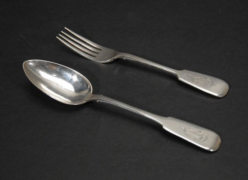 Russian Silver Serving Fork and Spoon