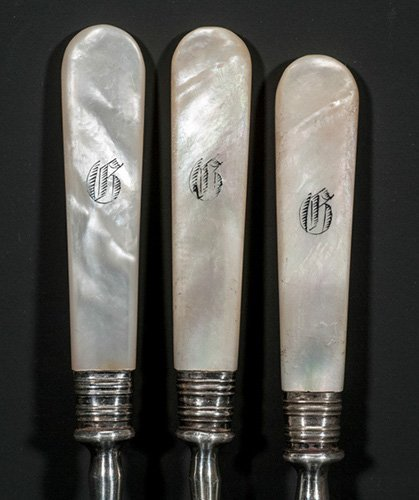 Ten (10) Silver Plate and Mother of Pearl Handled Fruit