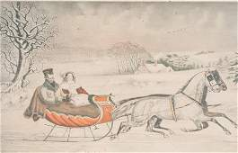Currier and Ives Hand Colored Lithograph