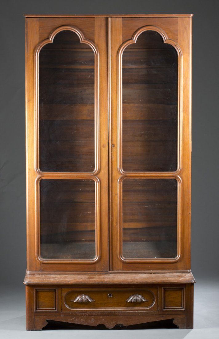 19th Century Glass Front Walnut Cabinet