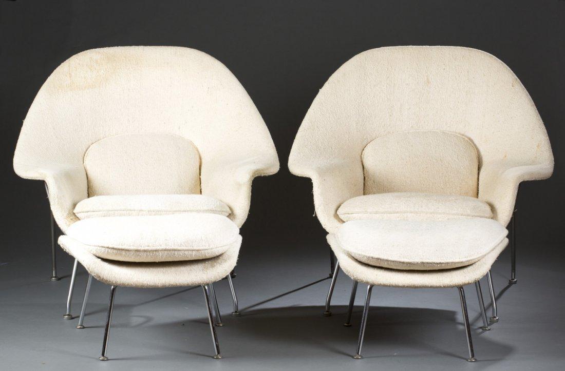 Two (2) Matching Eero Saarinen Womb Chairs and Ottomans