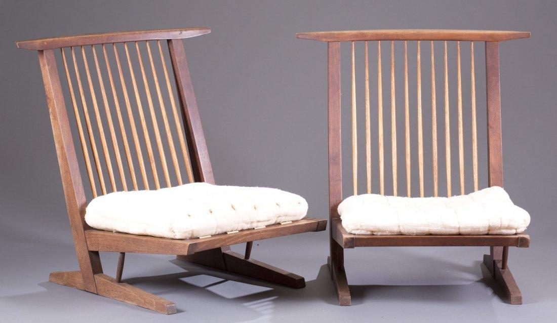 Two (2) George Nakashima Conoid Cushion Chairs