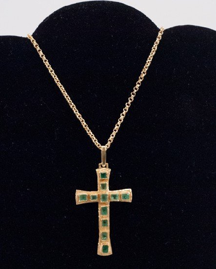 14K Emerald and Gold Pendant Cross Necklace