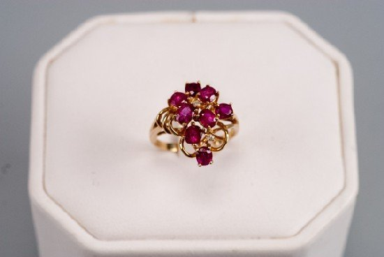 14K Diamond and Tourmaline Cluster Ring
