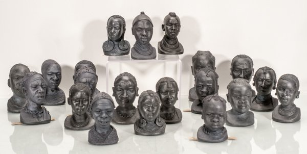 20 African Bust of Men, Woman and Children from