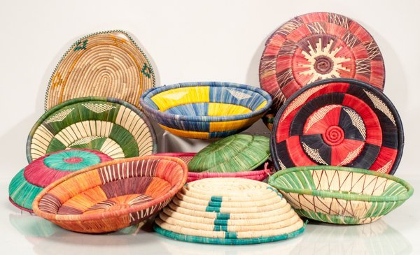 Lot of 12 Hand Woven African Baskets