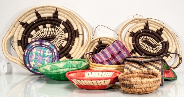 Lot of 13 Hand Woven African Items