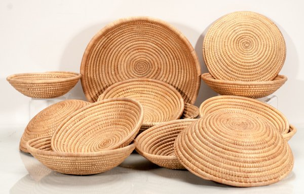 Lot of 13 Hand Woven African Baskets