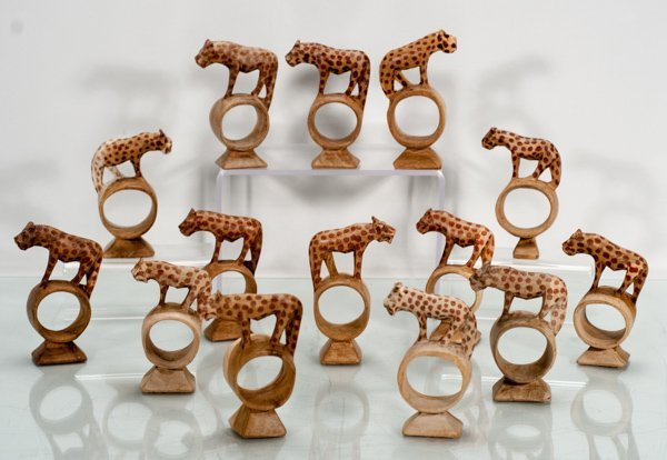 14 Hand Carved Wood Napkin Rings with a Cheetah on Top