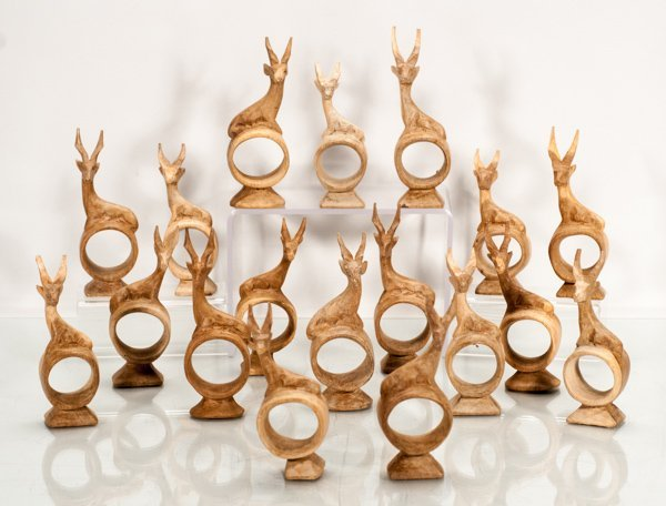 18 Hand Carved Wood Napkin Rings with Antelope on Top