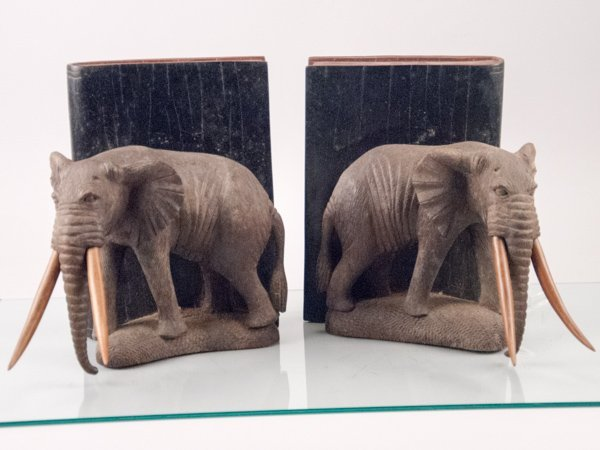 Hand Carved Wood Elephant Bookends with Wood Tusks