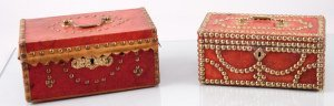 Pair of Red Leather Jewelry Boxes