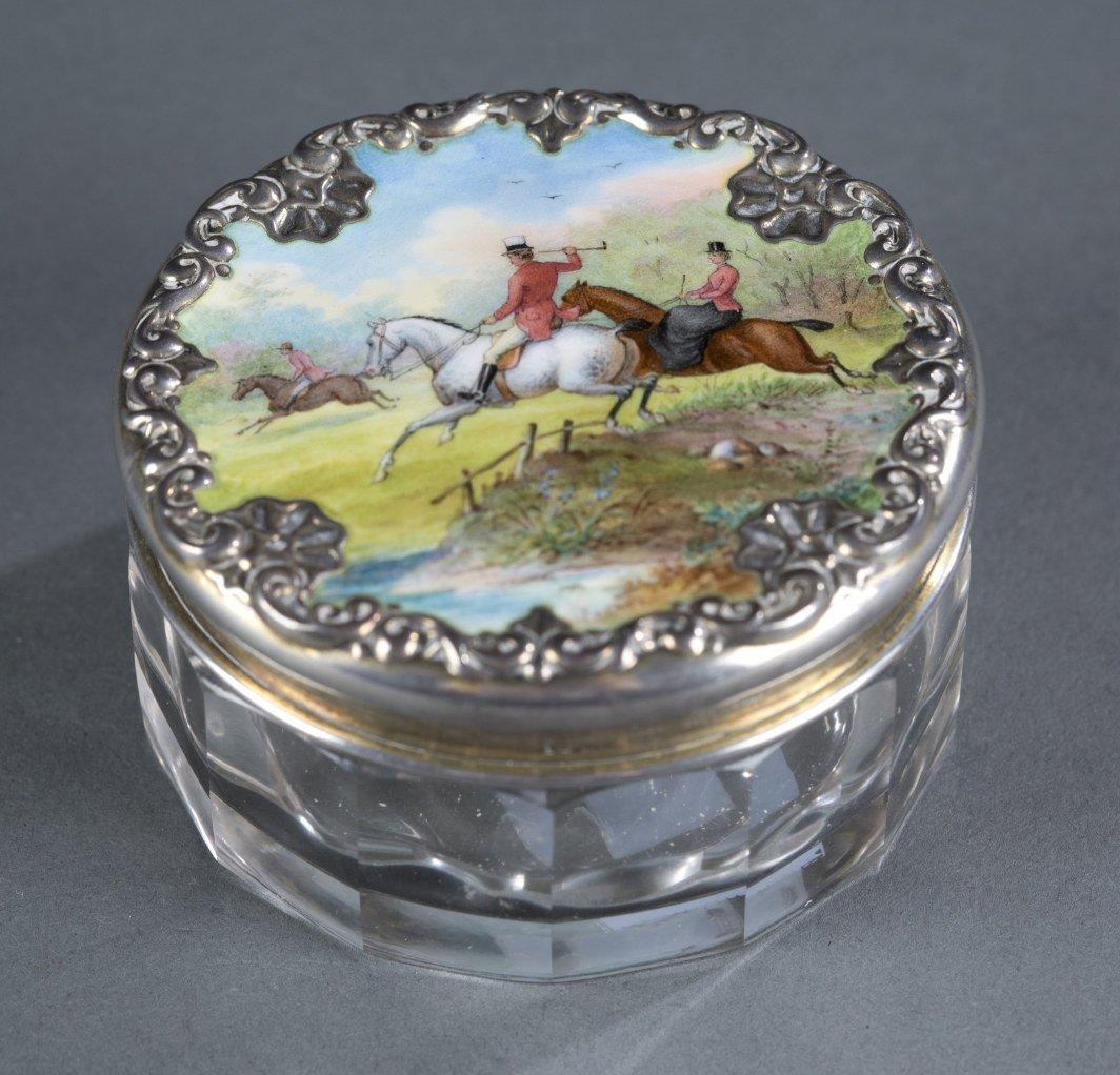 Hunt Scene Dresser Jar, Hand Painted and Sterling Lid,