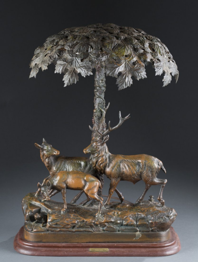 Patinated White Metal Lamp depicting a Family of Deer