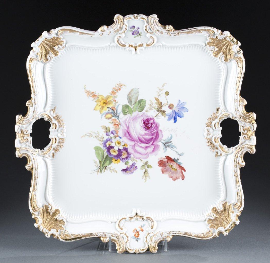 Meissen Handled Square Porcelain Serving Tray