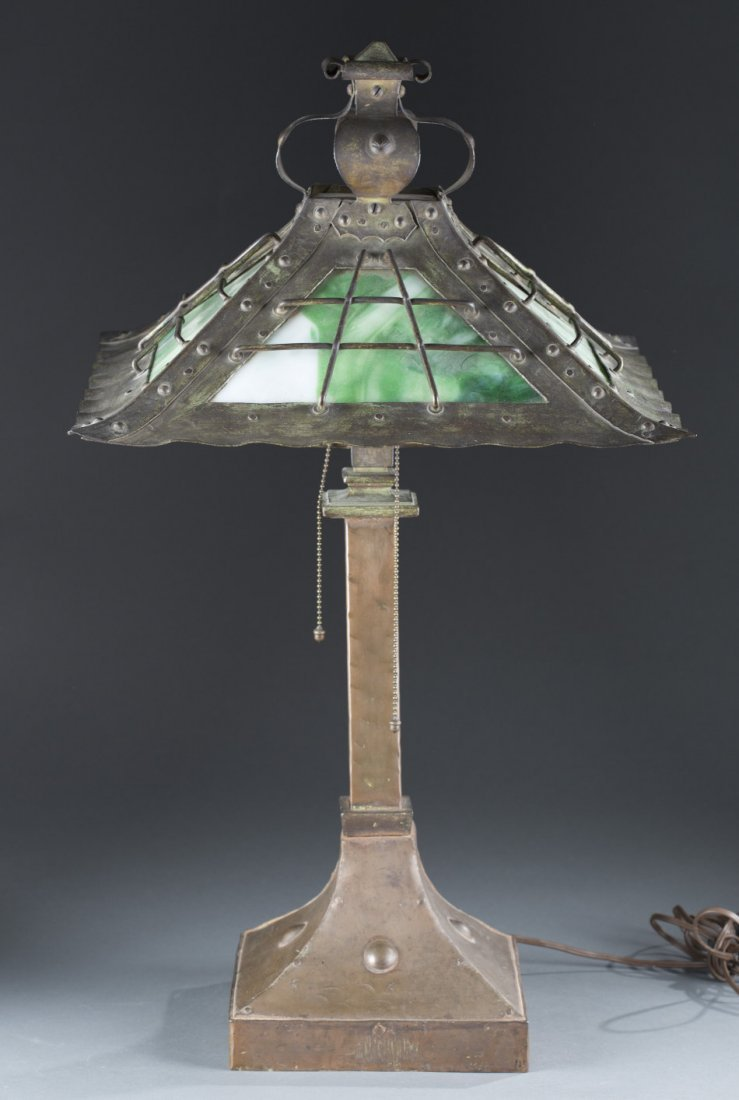 Arts and Crafts Slag Glass Lamp