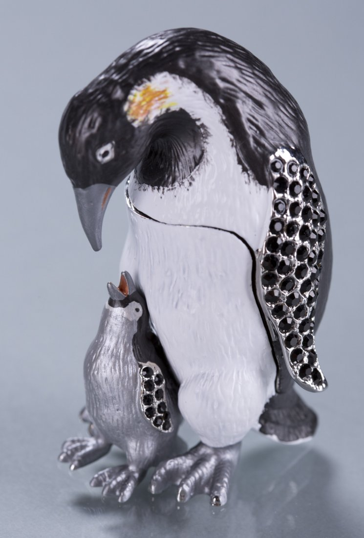 Enameled and Jeweled Penguin Gift Box