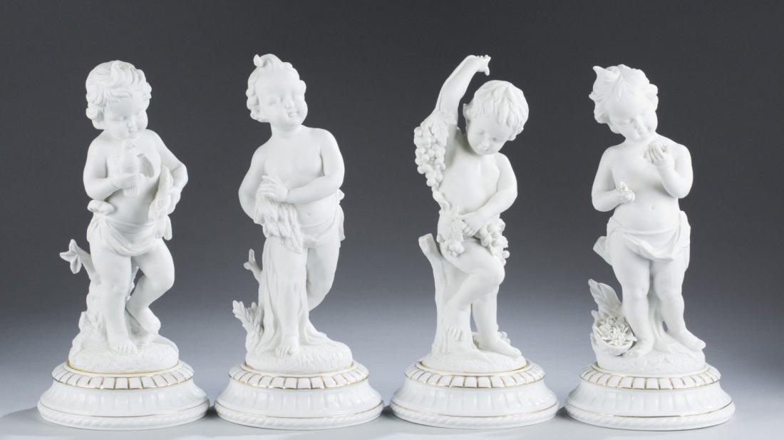 "Four (4) Porcelain Cherubs, ""The Seasons"""