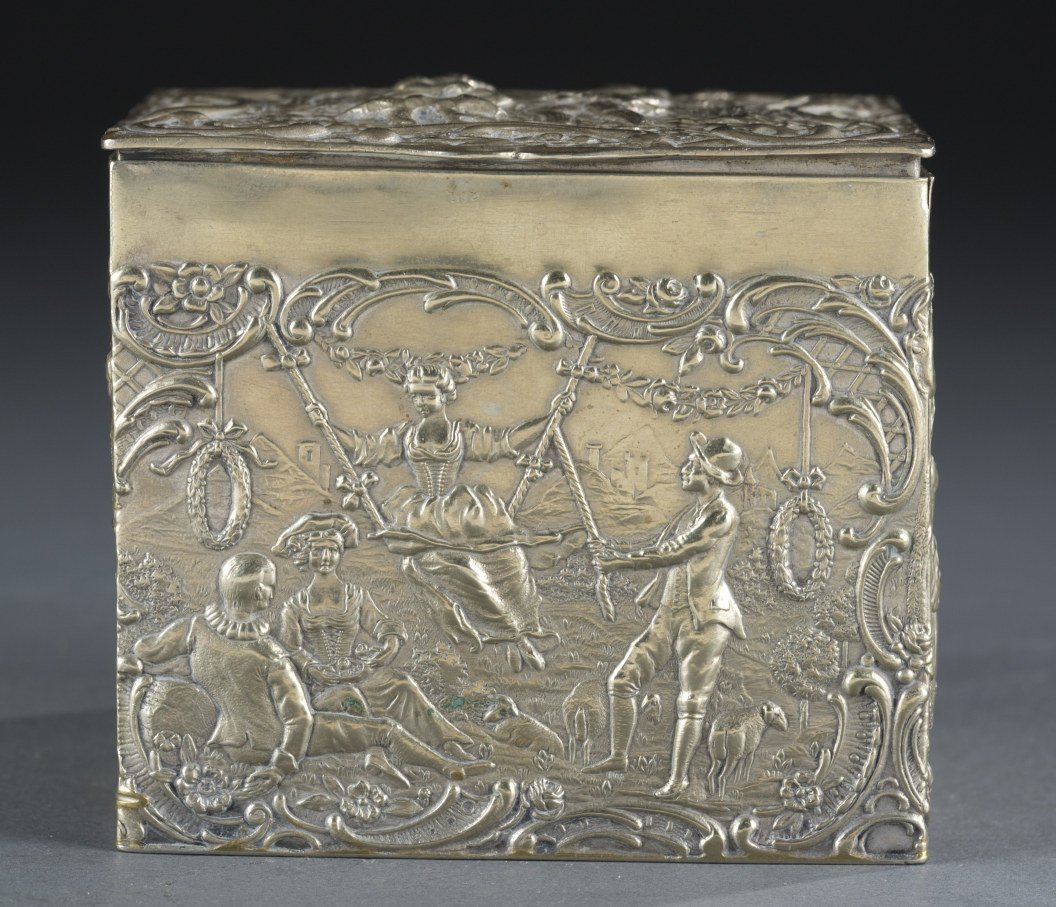 German Relief Decorated Metal Caddy