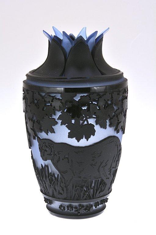"Pilgrim Cameo Glass Vase, ""At Pray"""