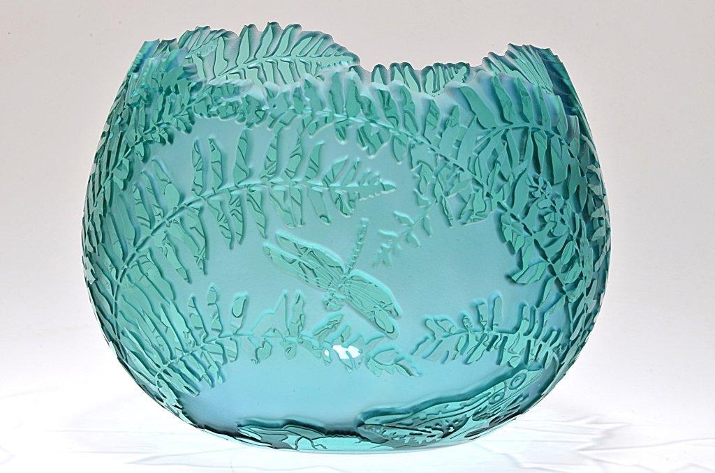 "Fenton Cameo Glass Pot, ""Dragon Cuttaway"""