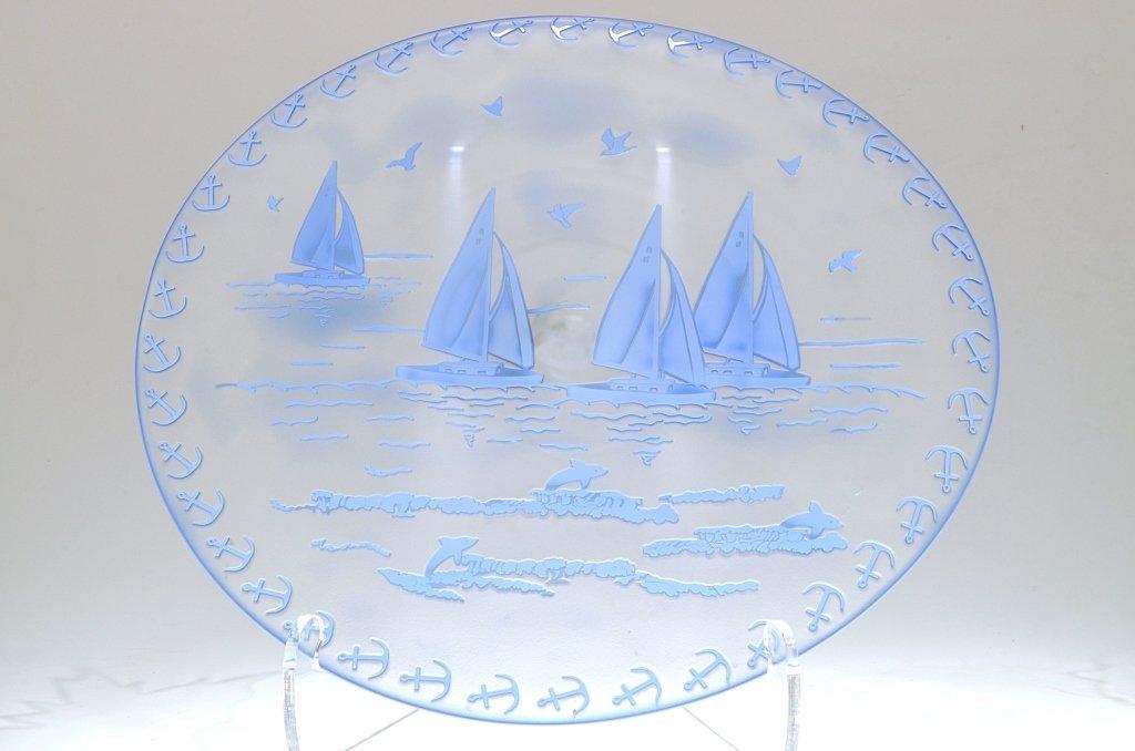 "Pilgrim Cameo Glass Rondelle, ""Blue Sails"""