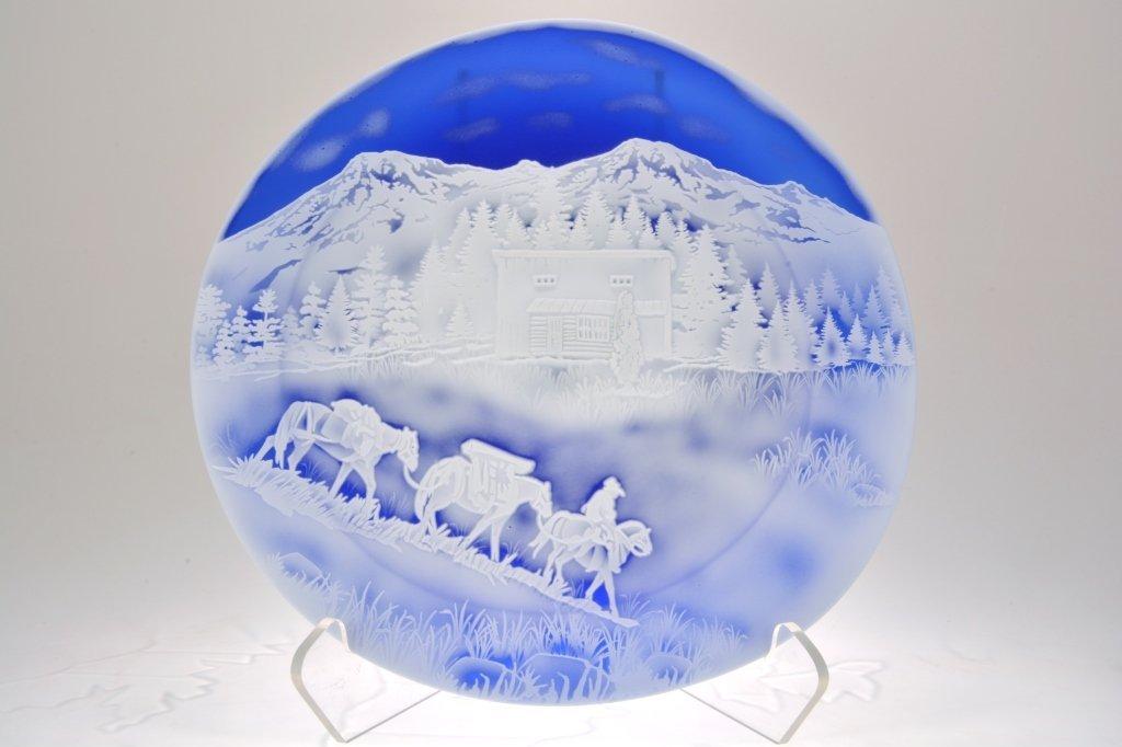 "Pilgrim Cameo Glass Rondelle, ""Cabin Retreat"""
