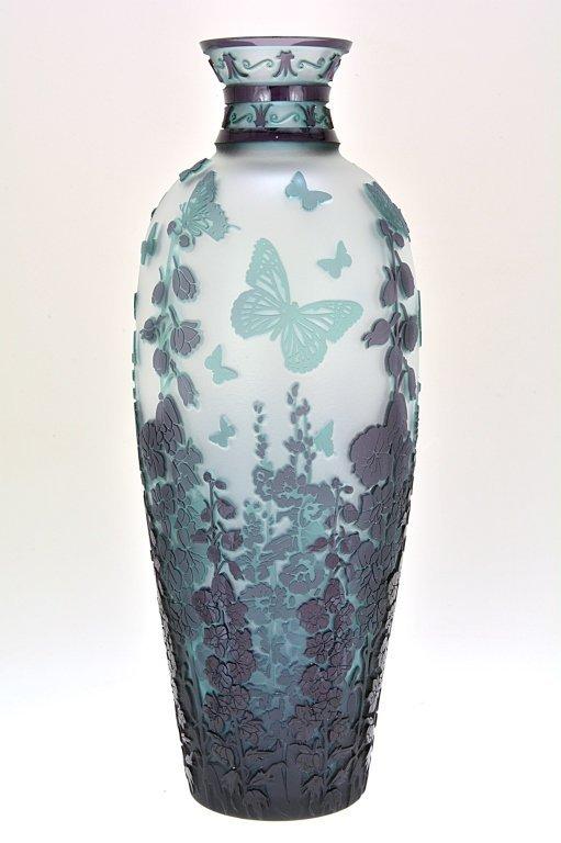 """Pilgrim Cameo Glass Vase, """"Plum Gorgeous"""""""