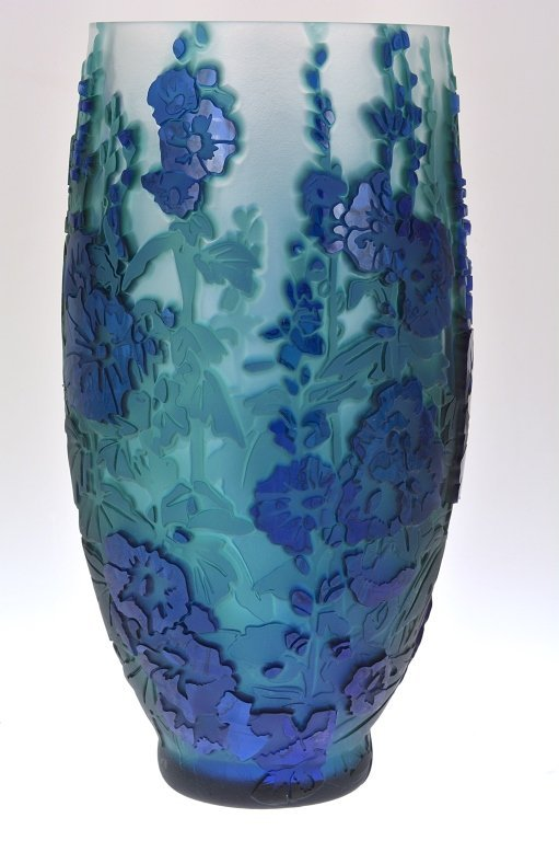 "Pilgrim Cameo Glass Vase, ""Behind the Hollyhocks"""