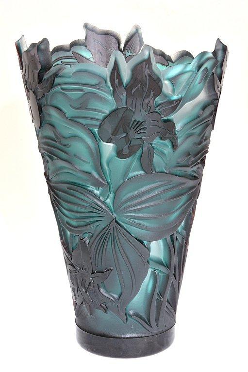 """Pilgrim Cameo Glass Vase, """"Rare Trillium Flair"""""""