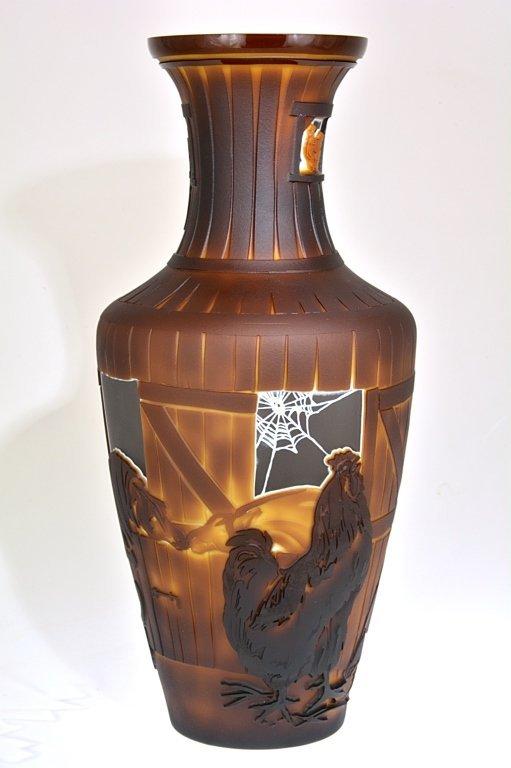 "Pilgrim Cameo Glass Vase, ""Cock of the Walk"""