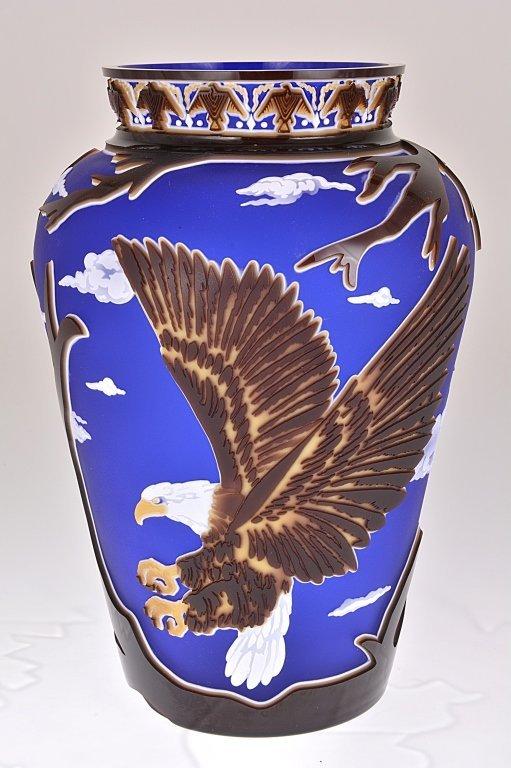 "Pilgrim Cameo Glass Vase, ""Freedom Land"""