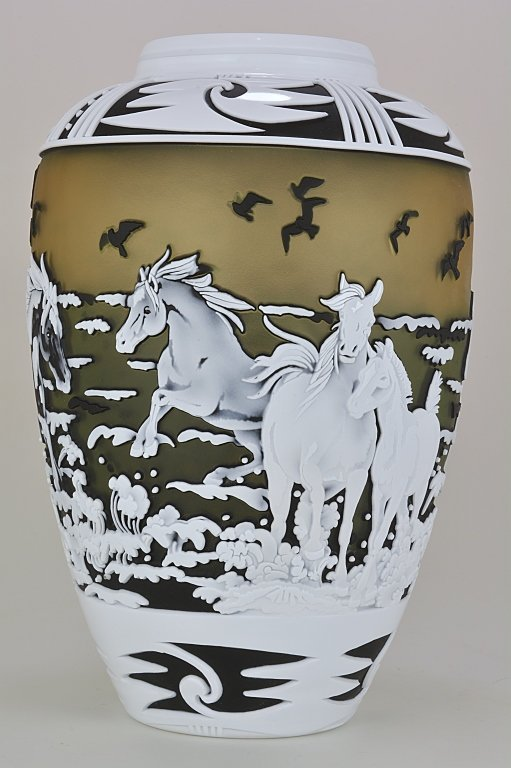 """Pilgrim Cameo Glass Vase, """"A Day at the Beach"""""""