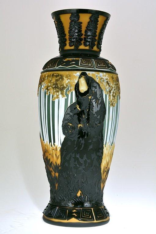 "Pilgrim Cameo Glass Vase, ""Aspen Clan"""