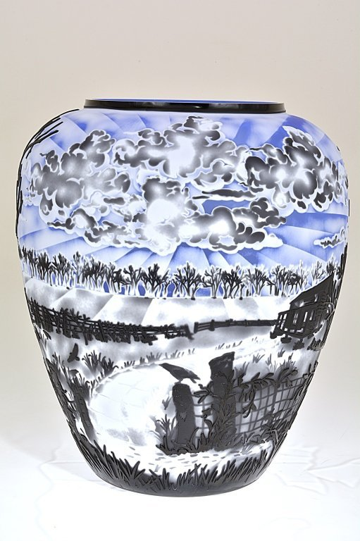 """Pilgrim Cameo Glass Vase, """"A Morning to Crow About"""